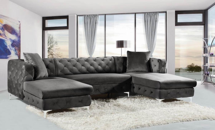 Gill Tufted Velvet Double Chaise Sectional in 3 Color Options
