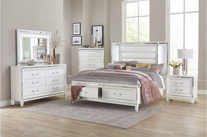 Jasmina Storage Bedroom Collection with LED Lighting in White or Grey