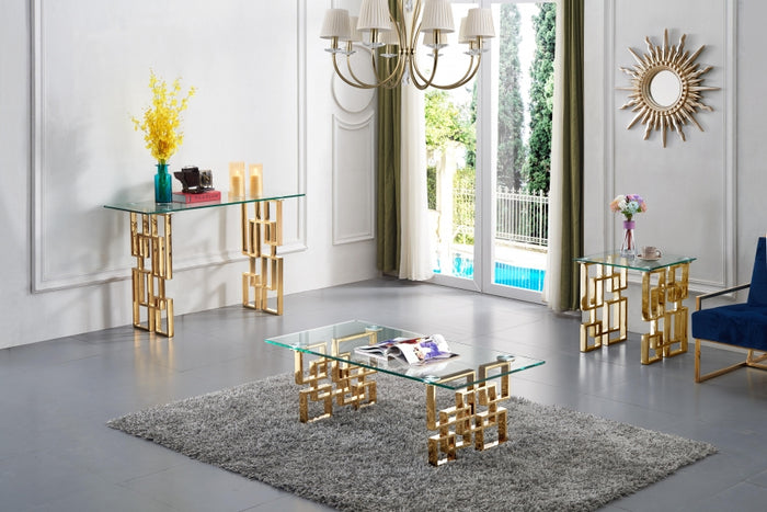 Peter Geometric Base Occasional Collection with Gold or Chrome Legs
