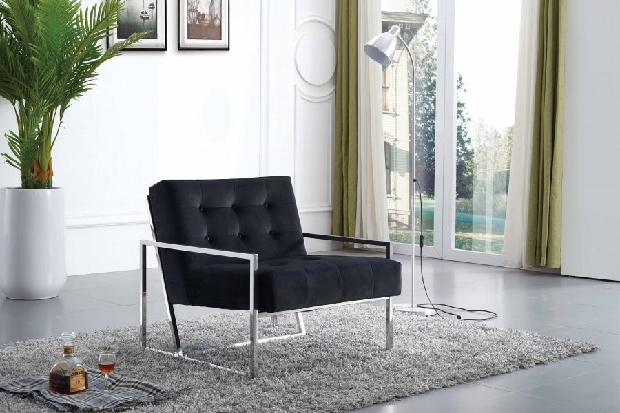 Alex Sleek Tufted Accent Chair in Black, Grey or Navy Velvet