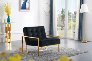 Alex Tufted Velvet Accent Chair with Gold Stainless Steel Base