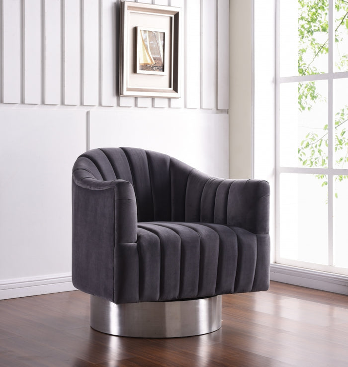 Faris Velvet Swivel Accent Chair in Grey or Navy