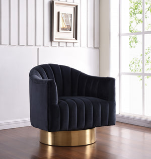 Faris Velvet Swivel Accent Chair with Gold Base in 5 Color Options