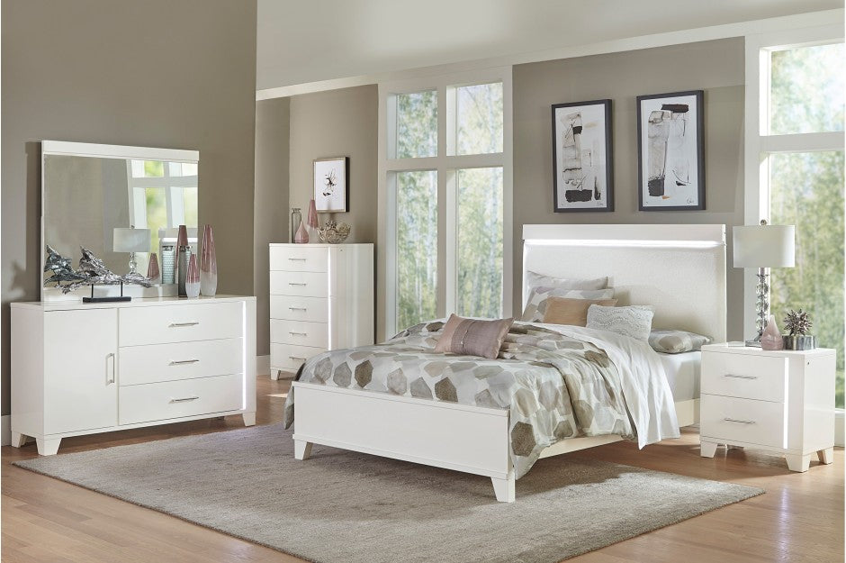 Karen White Bedroom Collection with LED Lighting