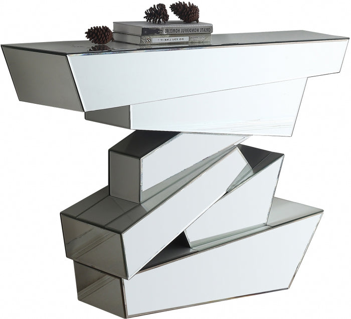 Jay Mirrored Geometric Design Console Table