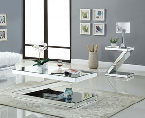Z Shape Mirrored Occasional Tables Collection