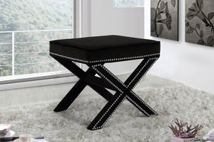 Dixon Velvet Ottoman/Bench with Chrome Nailheads in 6 Color Options