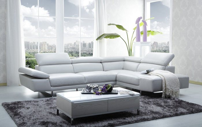 Prem White Italian Leather Sectional with Adjustable Headrests