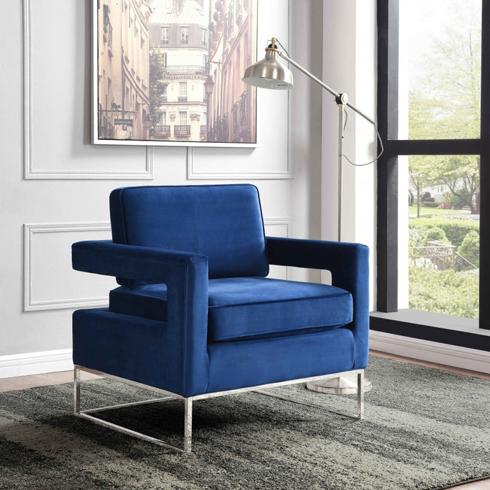 Noel Velvet Accent Chair in Black, Navy or Grey