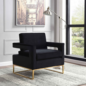 Noel Velvet Accent Chair with Gold Legs in 4 Color Options