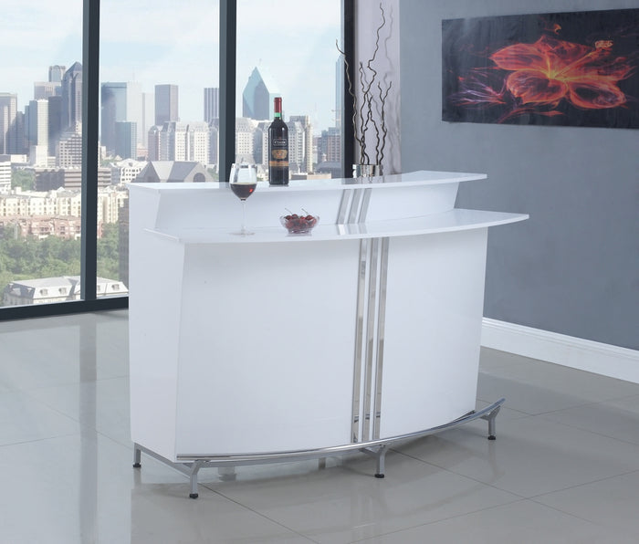Contemporary White High Gloss Bar Unit