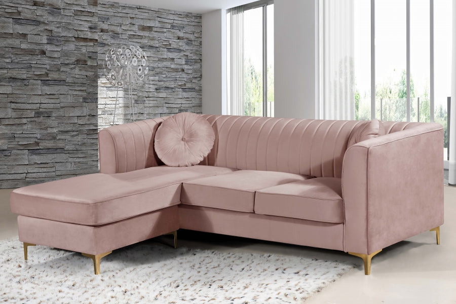 Elia Channel Tufted Velvet Reversible Sofa Chaise in Pink, Navy or Grey
