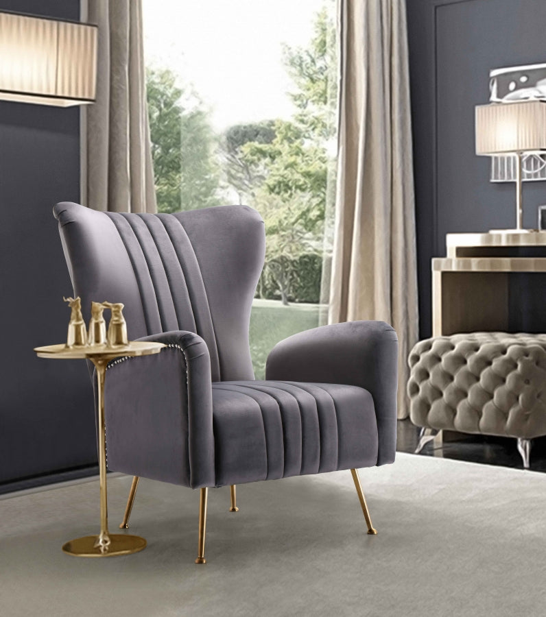 Perla Velvet Accent Chair with Gold Stainless Steel Legs in 4 Color Options