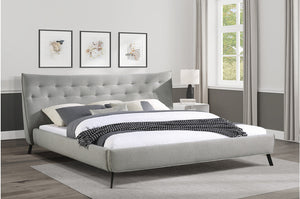 Emily Grey Tufted Platform Bed