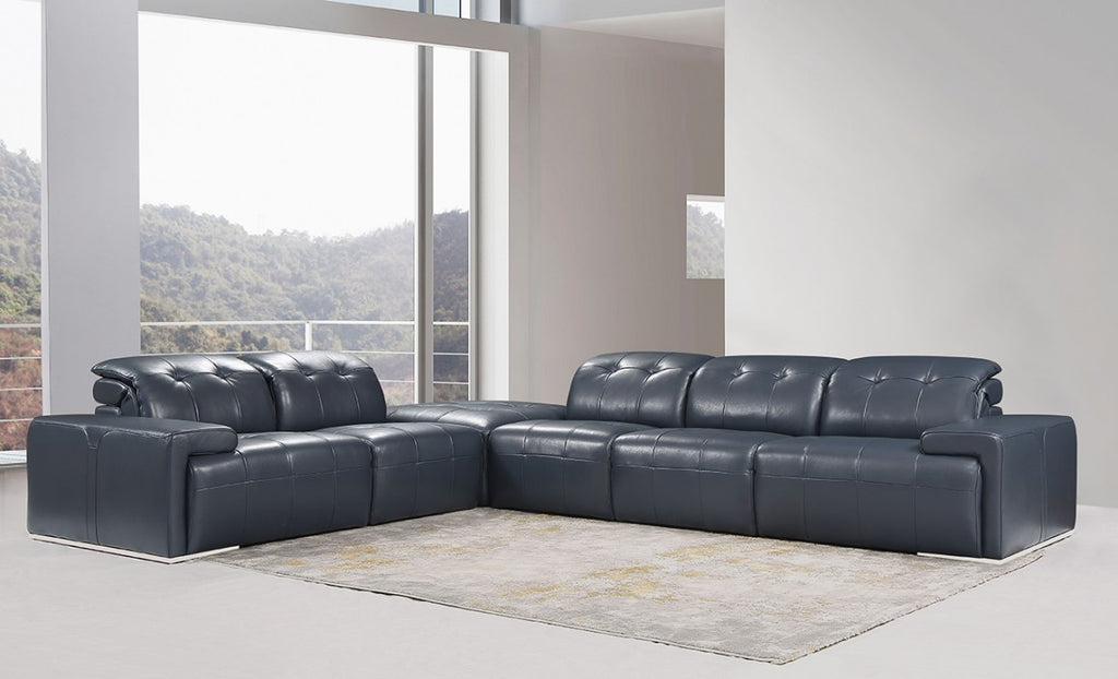 Griffin Italian Blue Leather Sectional