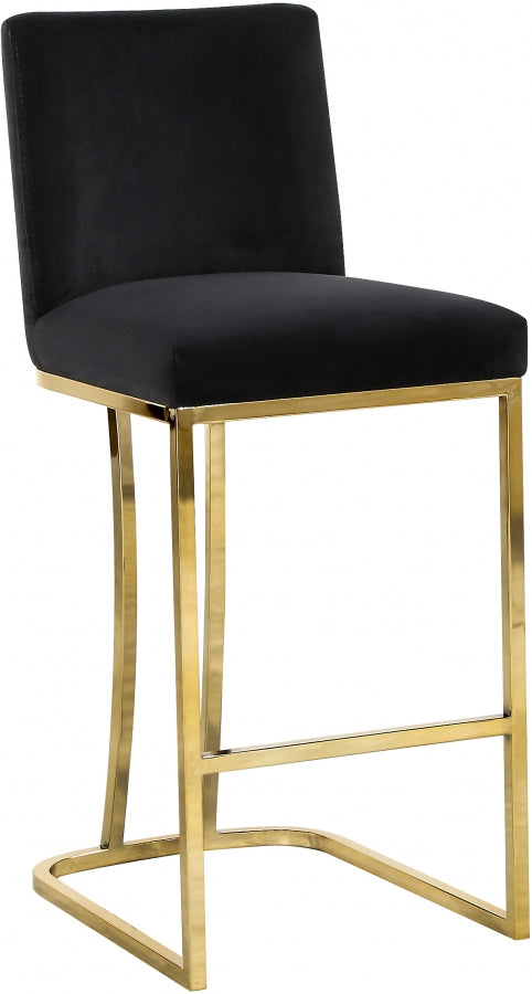 Aida Velvet Counter Height Stool with Gold Metal Frame