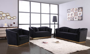 Ara Contemporary Velvet Living Room Collection in 3 Color Options