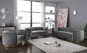Julia Curved Living Room Collection with Gold Stainless Steel Base