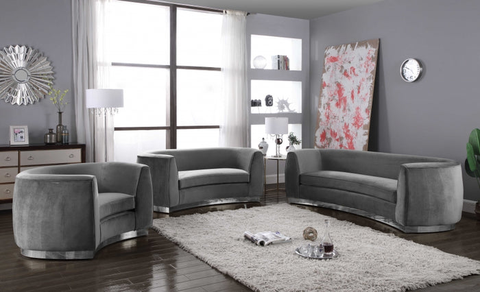 Julia Curved Living Room Collection with Chrome Stainless Steel Base