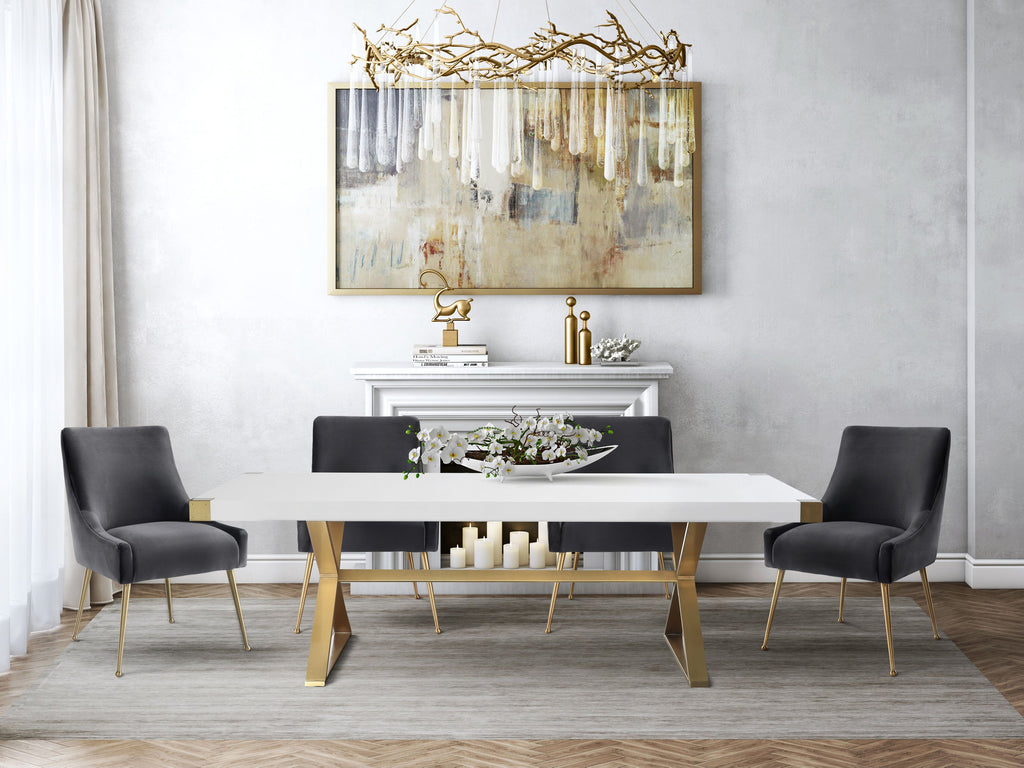Adalia White Dining Table with Gold Base
