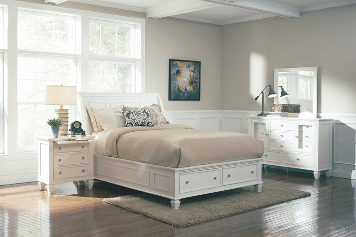Sandy Beach Sleigh Bed with Footboard Storage in White or Black