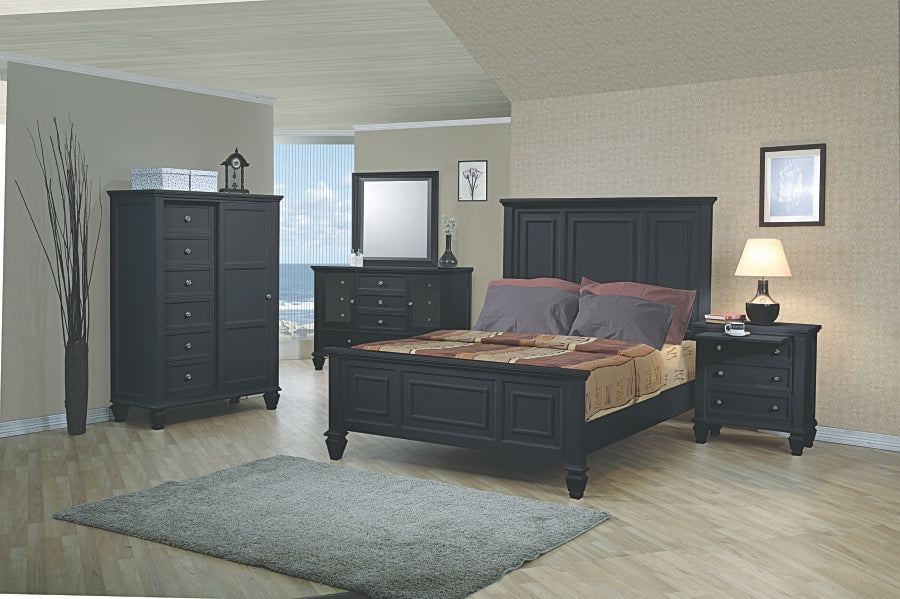 Sandy Beach Panel Bedroom Collection in White or Black