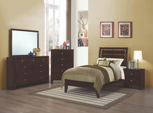 Serenity Solid Wood Bed with Cut-Out Design Headboard