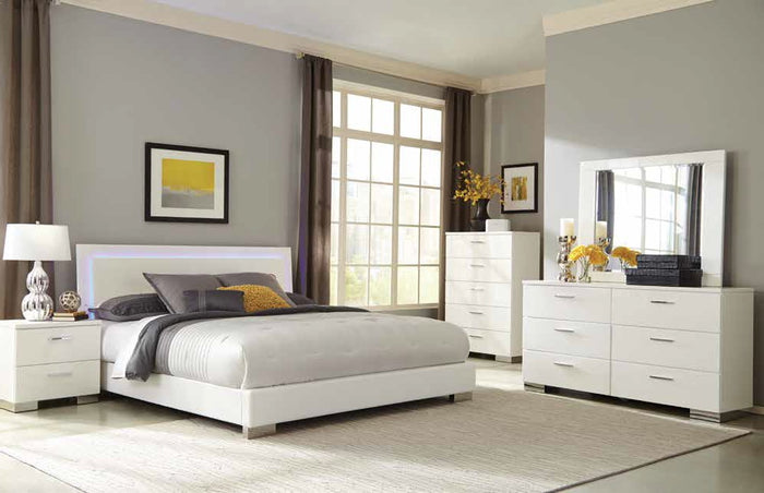 Felicity Contemporary White Bed with LED Lighting