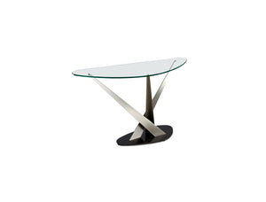 Crystal Boomerang Shaped Glass Coffee Table