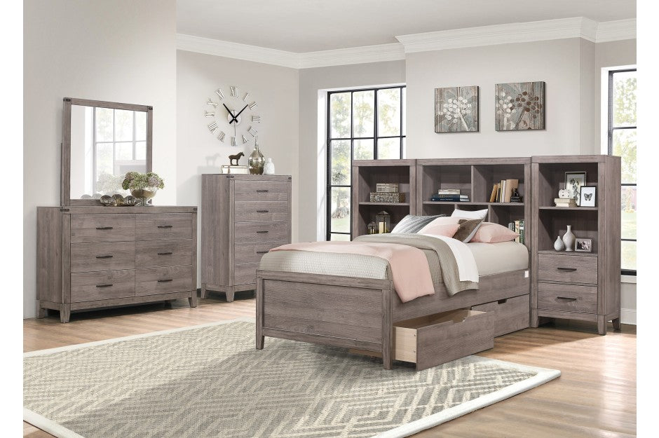 Woody Industrial Storage Platform Bedroom Collection