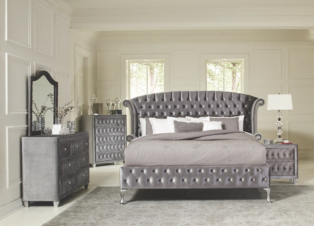 Dena Grey Velvet Tufted with Nailheads Bedroom Collection