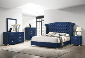 Melanie Blue Velvet Bedroom Collection