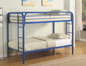 Jacob Twin over Twin Metal Bunk Bed in White, Blue or Black