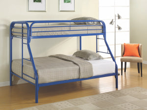 Jacob Twin over Full Metal Bunk Bed in Silver, White, Blue or Black