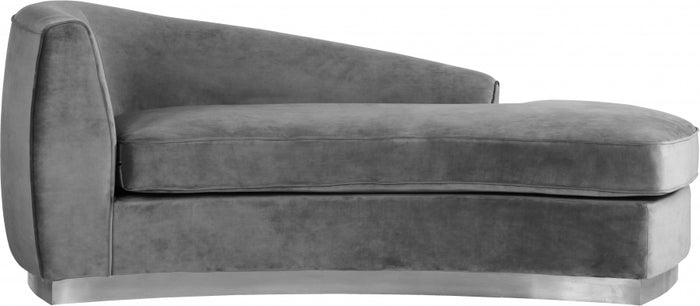 Julia Velvet Chaise Lounge with Chrome Base