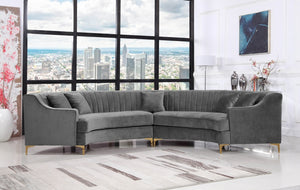 Jack Curved Velvet Sectional in Grey, Navy or Pink
