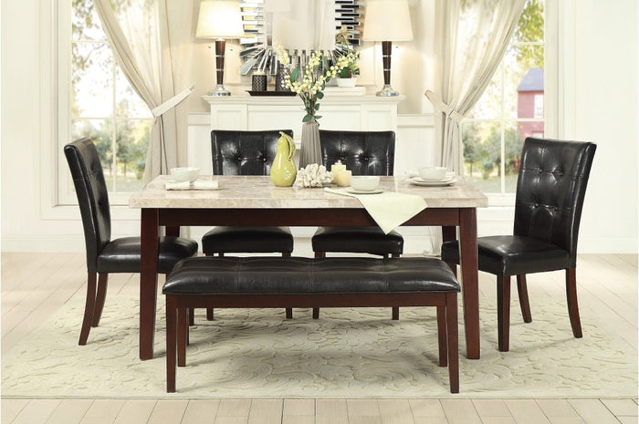Declan White Marble Dining Room Collection with Optional Bench