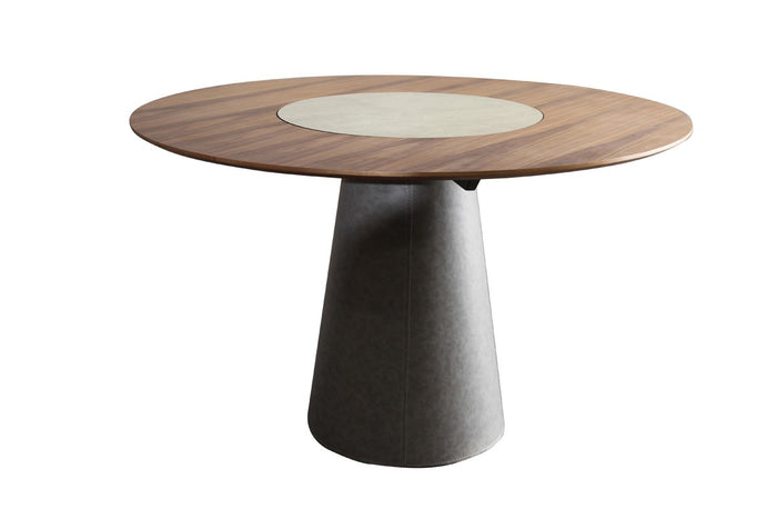 Allen Round Walnut Dining Table with Lazy Susan