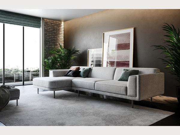 Marjorca Contemporary Sectional with Chrome Legs
