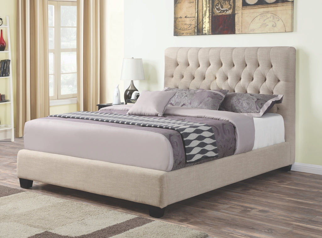 Khloe Button Tufted Fabric Bed in Oatmeal or Charcoal