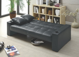 Silva Black Tufted Convertible Sofa with Cup Holders