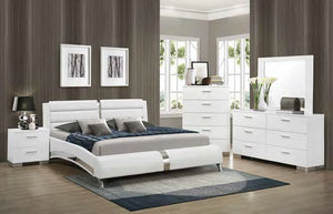 Felicity White Leatherette Platform Bed