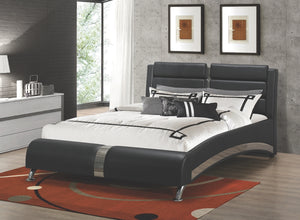 Jerry Black Leatherette Platform Bed