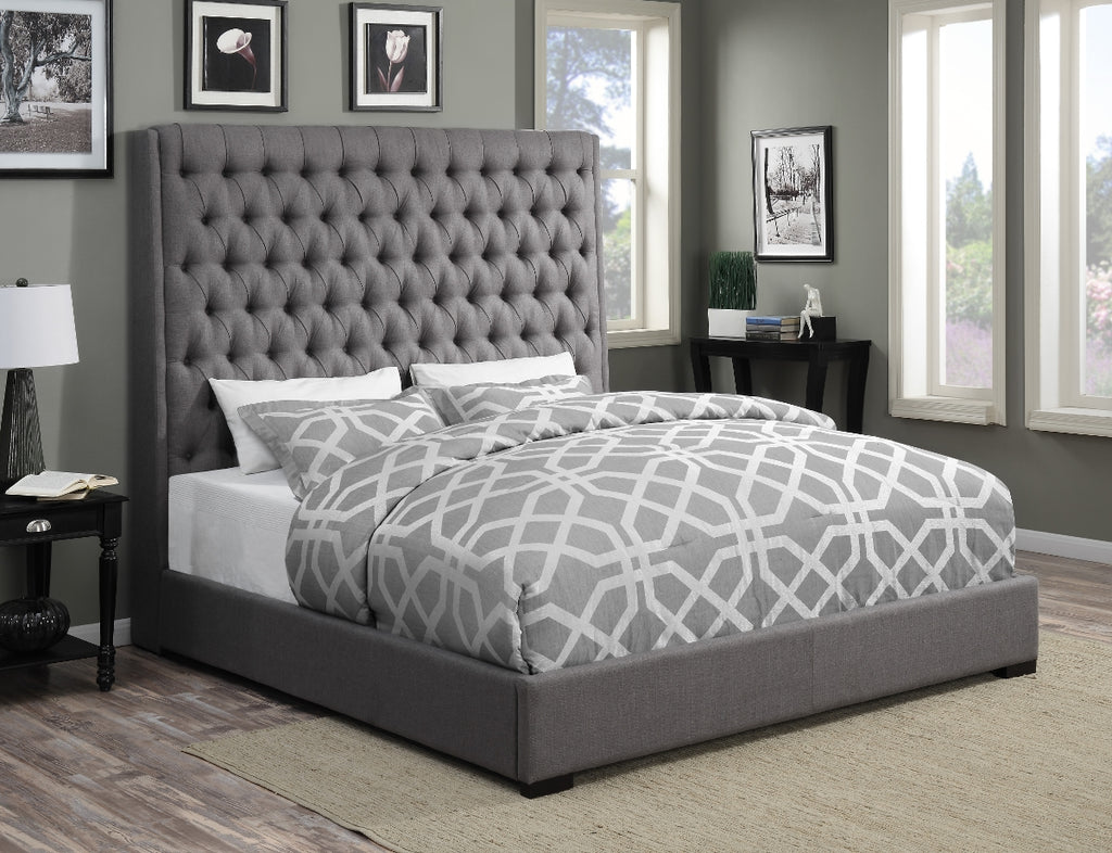 Camella Tufted Fabric Bed in Grey or Cream