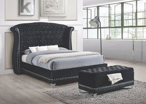 Zini Upholstered Black Velvet Glam Tufted Bed