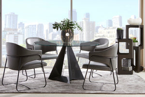 Prism Round Glass Dining Table in 3 Glass Top Sizes