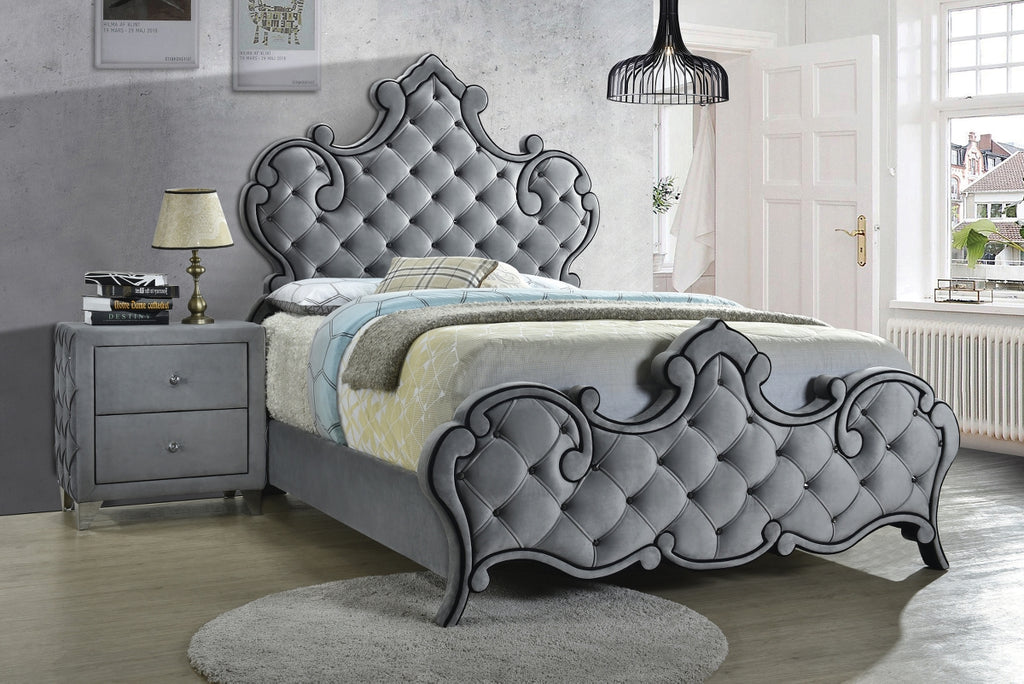 Santino Grey Velvet Tufted Bed