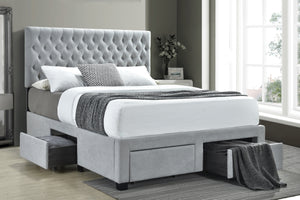 Sola Tufted Storage Bed in Light or Dark Grey Fabric