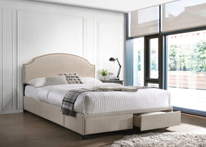 Nicolas Storage Platform Bed in Beige or Charcoal Fabric