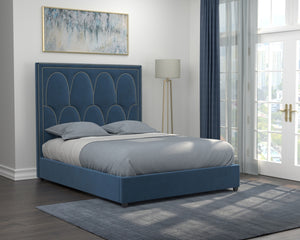 Bowman Blue Velvet Platform Bed with Brass Accent